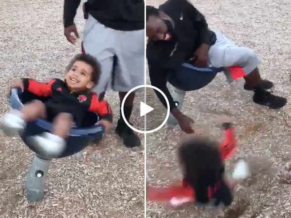 Dad gives son the spins and hilarity ensues