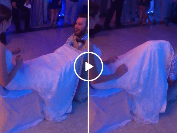 Bride pulls amazing prank on groom during garter toss (Video)