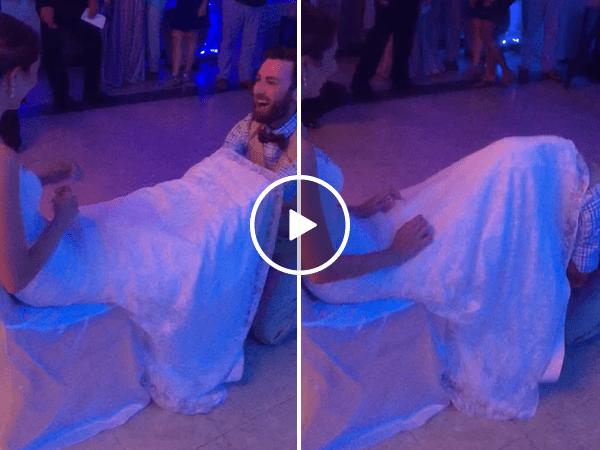 Bride pulls amazing prank on groom during garter toss (Video)