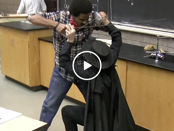 Zorro interrupts college lecture to save the day (Video)