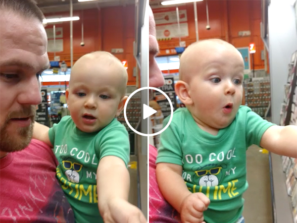 Baby gets excited while paint shopping