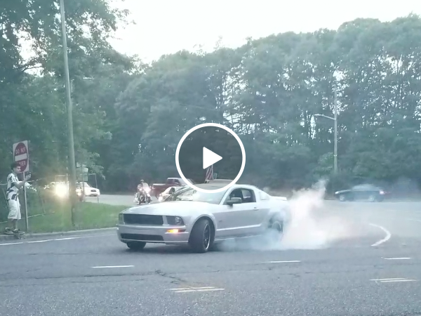 Showoff gets an unwanted surprise after burnout (Video)