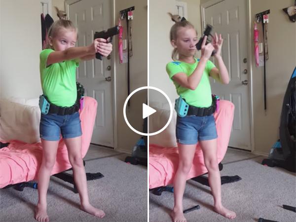 Little girl puts on a gun demonstration