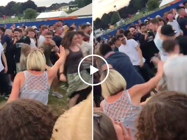 Let's all admire this mom's hilariously futile attempt at stopping a mosh pit (Video)