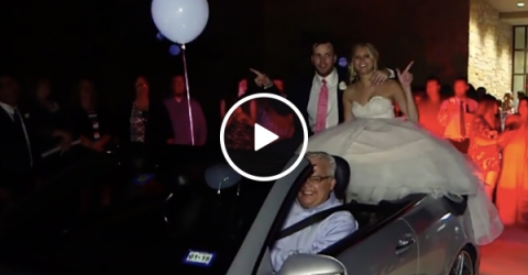 Car crashes with bride and groom at wedding