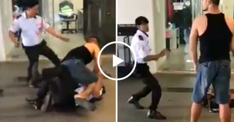 MMA wannabe takes on 4 security guards (Video)
