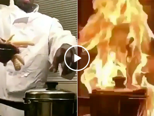 Chef sets fire to pan with french fries (Video)