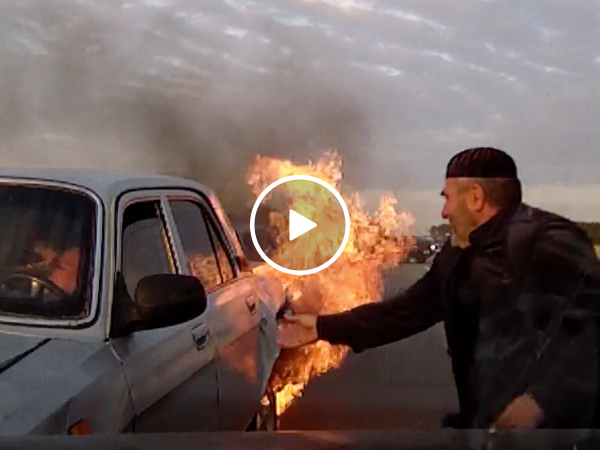 Brave old man rescues multiple people from car fire
