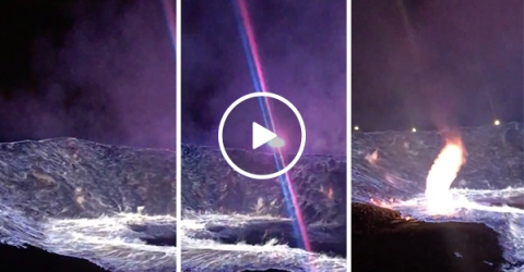 An amazing sulfur bowl fire in Wyoming (Video)