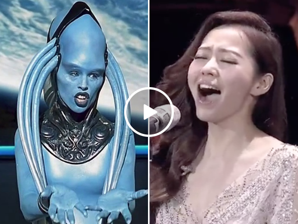 Girl does the opera song from the fifth element and absolutely kills it