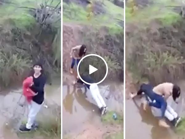 Man makes himself a human bridge for lady friend (Video)