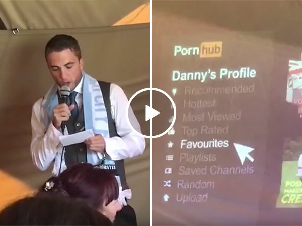 Best man talks about Pornhub in speech