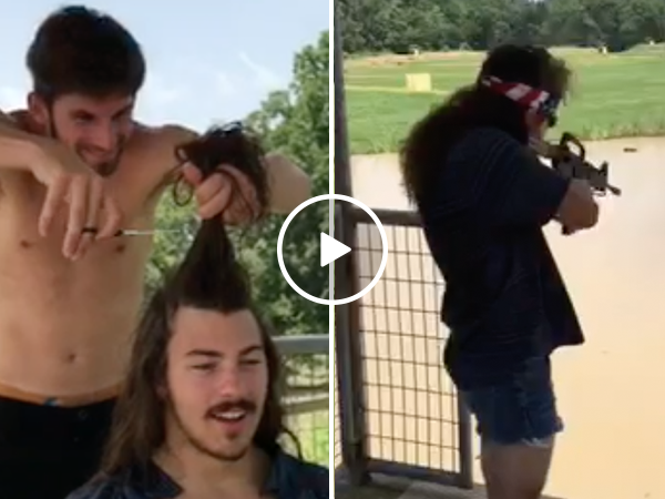 Mullet hair cut turns guy into total badass (Video)