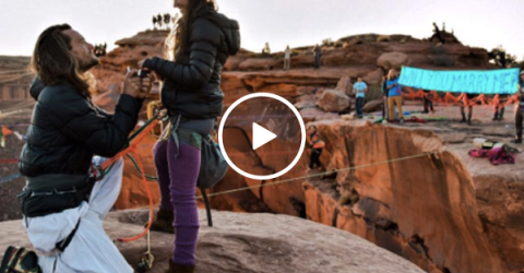 Slack liner proposal is as extreme as his hobby (Video)