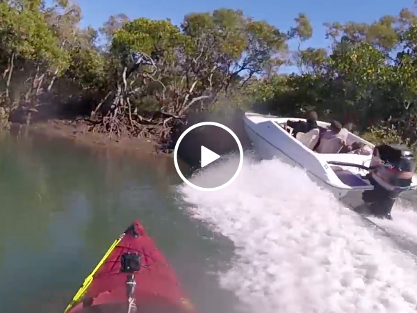 Speedboat almost takes out kayaker fishing in silence