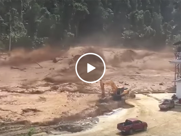 Spectacular footage of a dam breaking in Southeast Asia