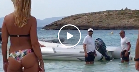 Drunk tourist abruptly awoken, throws a little tantrum (Video)