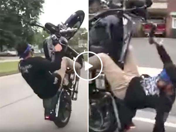 Crazy motorcycle wheelie | Daredevil rides bike on street