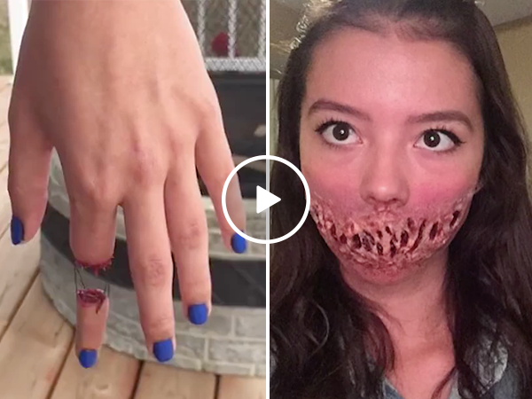 Cute girl has some impressive special effects makeup skills (Video)