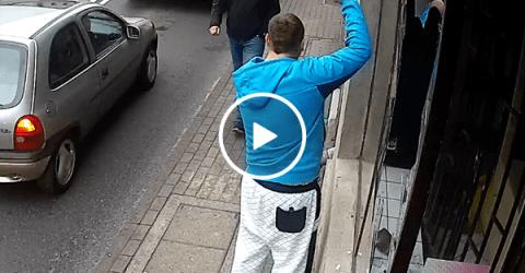 Vandal gets instant karma when crossing the street (Video)
