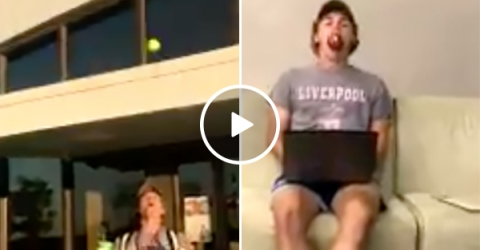 Guy Catches Apples With His Mouth