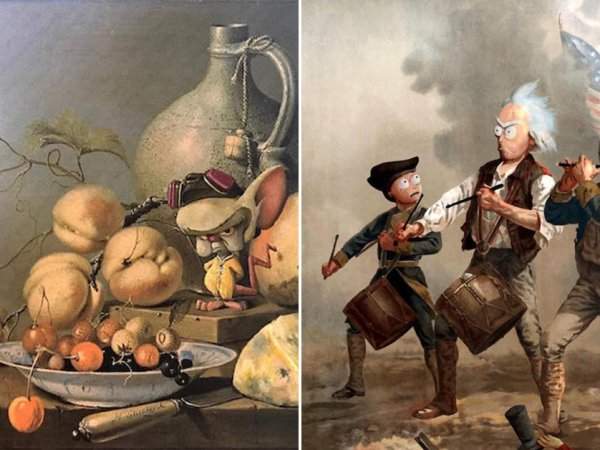 Artist inserts cool pop culture references into thrift store paintings