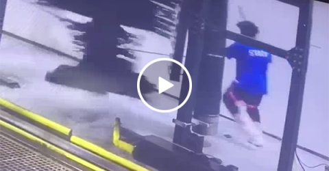 Guy gets caught up in a car wash and gets spun around