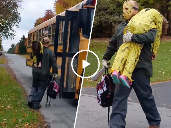 Dad dressed as Jason Voorhees delivers son as his latest victim (Video)
