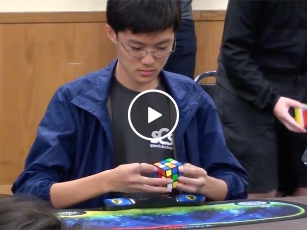 Kid Sets Rubik's Cube World Record