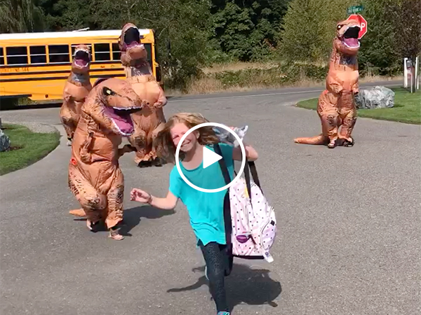 Girl Gets Chased By A Dinosaur Family