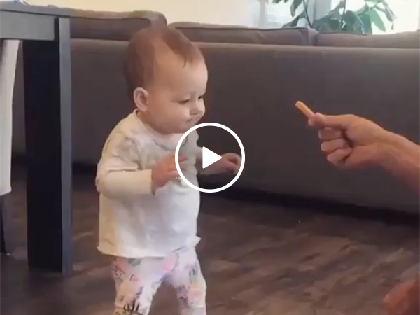 Baby Gets Motivated to Walk By French Fry