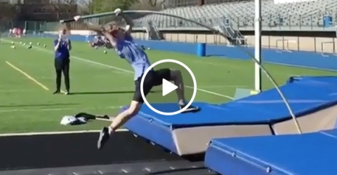 Pole Vault Snaps On Guy | Track & Field Athlete Falls Hard