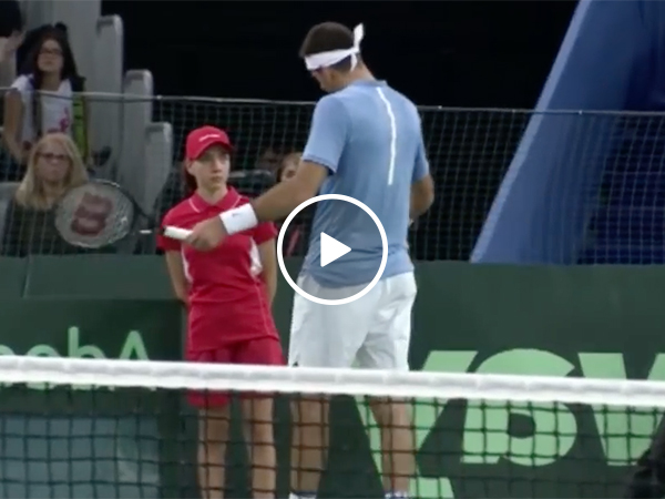 Tennis Player Juan Martin del Potro helps out Injured Ballgirl