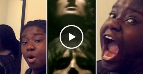 Girl gives energetic performance of Bohemian Rhapsody using mirror