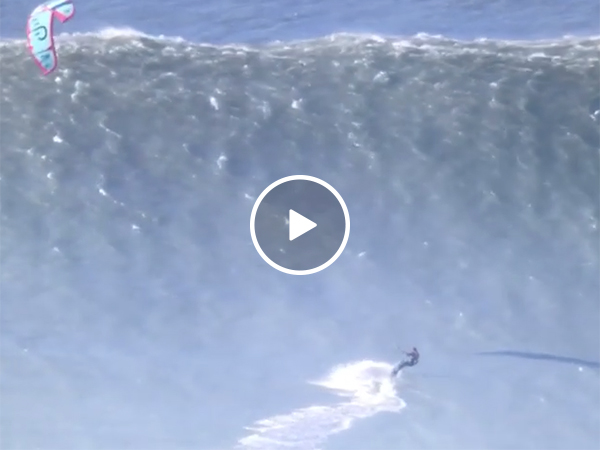 Surfer Climbs Up Huge Wave in Tahiti and Makes An Insane Jump