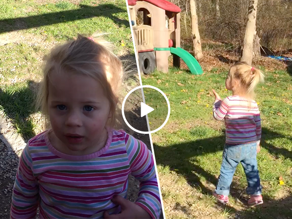 Adorable little girl can't say wood pecker (Video)