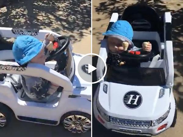 Baby Falls Asleep Driving A Car And Kept Driving