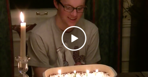 Birthday boy gets singed by candles due to powdered sugar (Video)