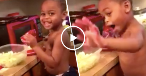 Adorable little boy just wants to cook for his Momma (Video)