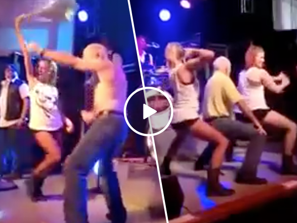 Old man nails dance to Gin and Juice with hot women (Video)