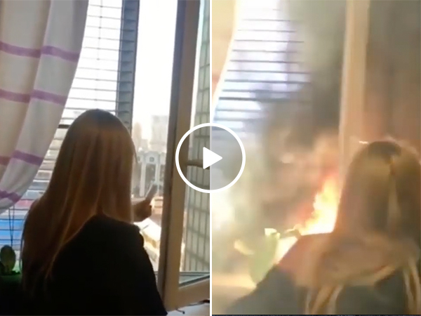 Girl Lights Off Fireworks Inside House For New Year's Eve Party