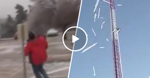 Dangerous chunks of ice fall from 1600 foot TV tower (Video)