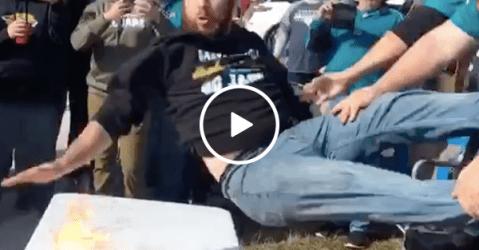 Jaguar fan learns hard way not to imitate Bills Mafia (Video)