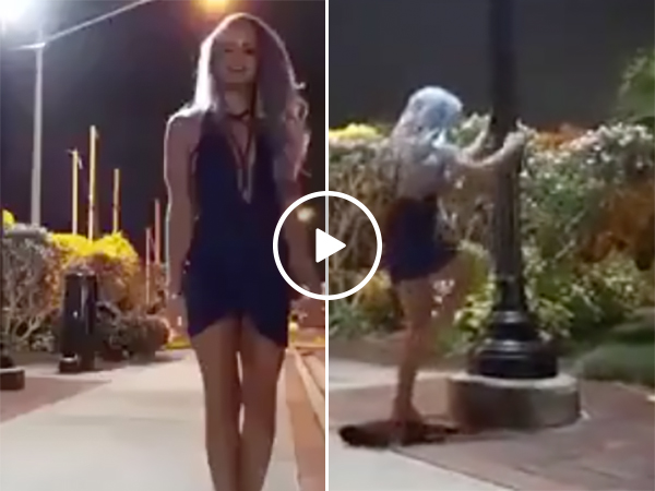 Hot Girl Dances On Pole | Sexy Woman Pole Dancing In Public