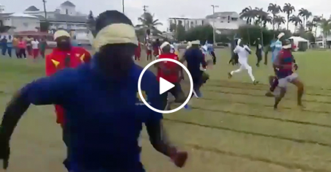 Blindfold race goes as expected (Video)
