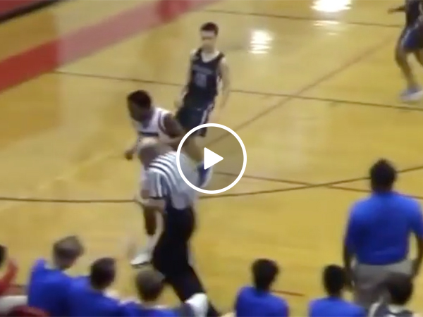Basketball Referee Gets Toupee Knocked Off His Head