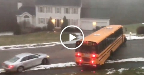 School Bus Can't Stop Sliding During Winter Storm