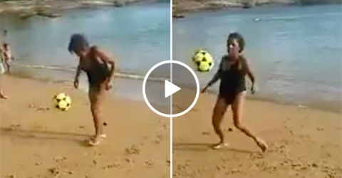 Grandma Juggles Soccer Ball on the Beach, Is Next Ronaldo