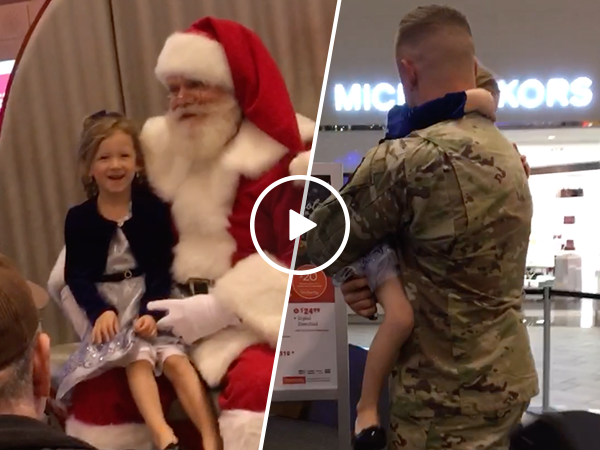 Soldier surprises daughter during Christmas homecoming (Video)