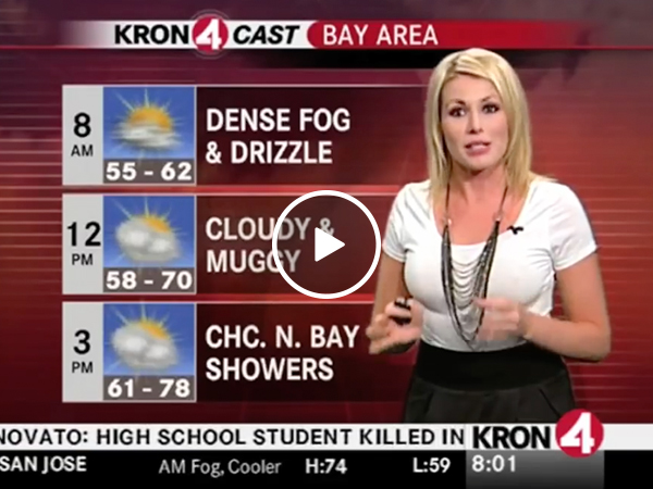Weathergirl predicts a cold front (Video)